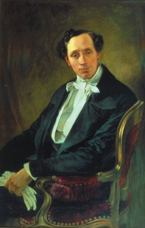 portrait of Hans Christian Andersen, performed by portrait painter Elisabeth Jerichau-Baumann in 1850 Denmark