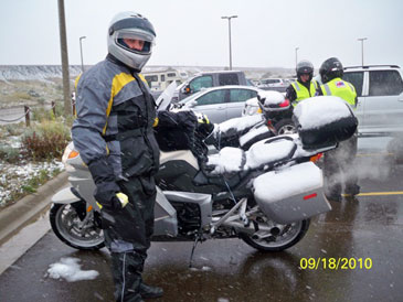 Snow covered BMW K1300GT at Great Falls, Montana