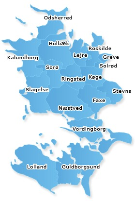 Kommuner i Region Sjælland Danmark
