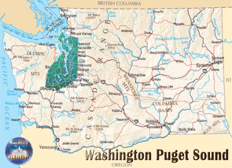 Washington State Puget Sound Region Population Area Km - Us map puget sound