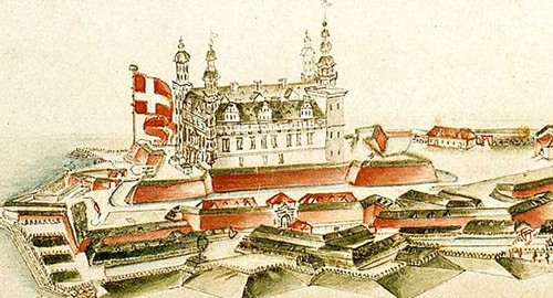 Tegning fra 1733. Kronborg Helsingør  Hamlets Castle Elsinore